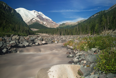 The White River at Mount Rainier looks almost like chocolate milk.  The Glacier Basin leads up to the terminus of the glacier, which ends in a massive ice cave, seeping water into a river.  Our campground was just a few minutes walk from here, and the trail goes on for miles up the basin.